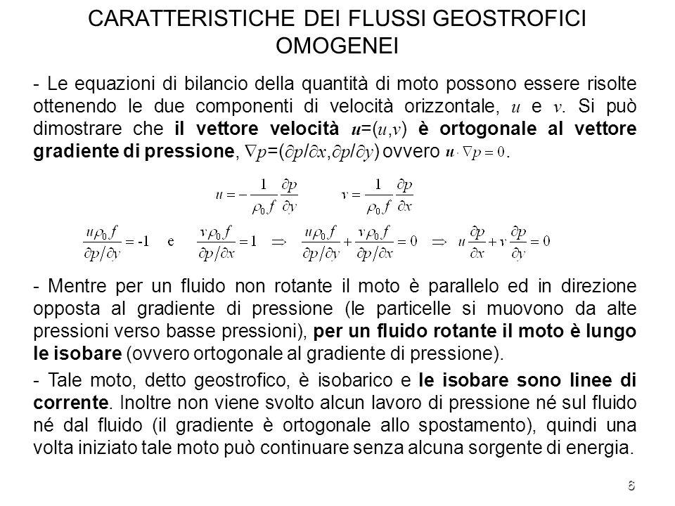 6 CARATTERISTICHE DEI FLUSSI GEOSTROFICI OMOGENEI - Le equazioni di bilancio della quantità di moto possono essere risolte ottenendo le due componenti