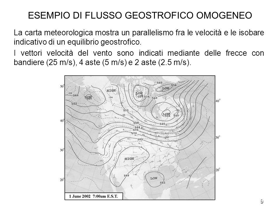 9 ESEMPIO DI FLUSSO GEOSTROFICO OMOGENEO La carta meteorologica mostra un parallelismo fra le velocità e le isobare indicativo di un equilibrio geostr