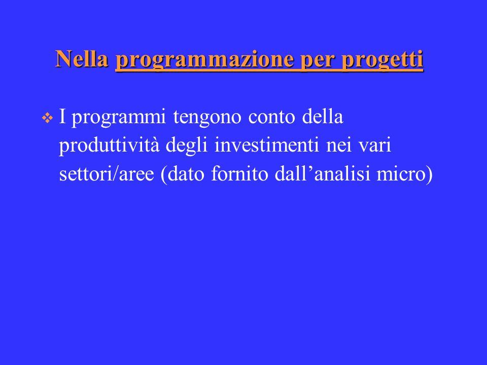 Nella programmazione per progetti I programmi tengono conto della produttività degli investimenti nei vari settori/aree (dato fornito dallanalisi micro)