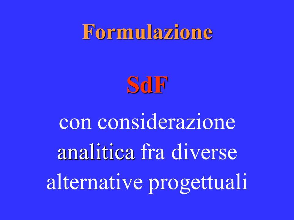 FormulazioneSdF analitica con considerazione analitica fra diverse alternative progettuali