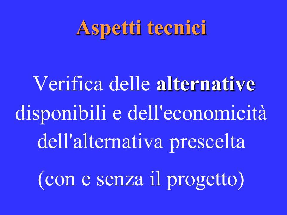 Aspetti tecnici alternative Verifica delle alternative disponibili e dell economicità dell alternativa prescelta (con e senza il progetto)