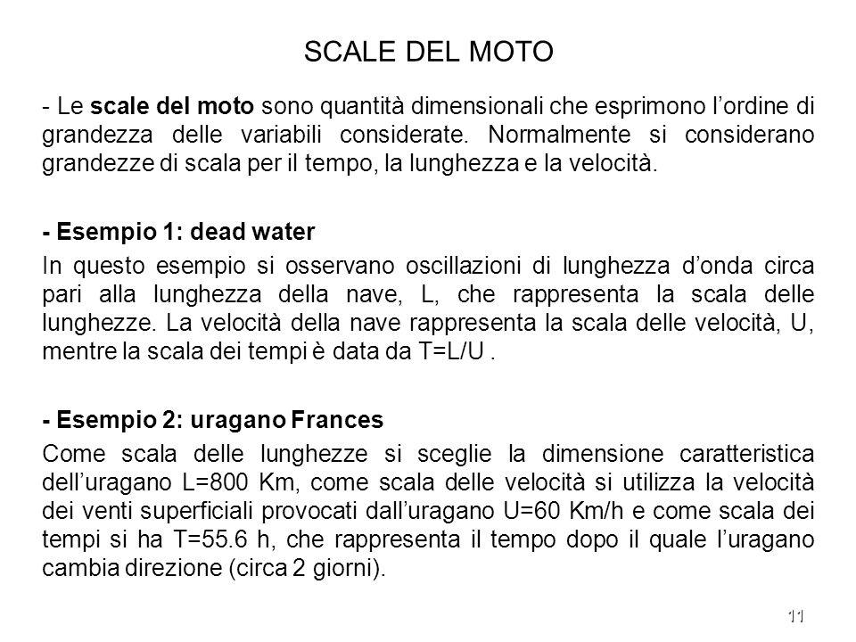 11 SCALE DEL MOTO - Le scale del moto sono quantità dimensionali che esprimono lordine di grandezza delle variabili considerate. Normalmente si consid