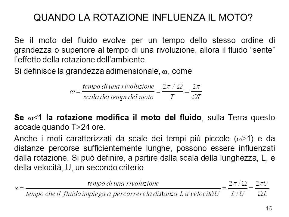 15 QUANDO LA ROTAZIONE INFLUENZA IL MOTO? Se il moto del fluido evolve per un tempo dello stesso ordine di grandezza o superiore al tempo di una rivol