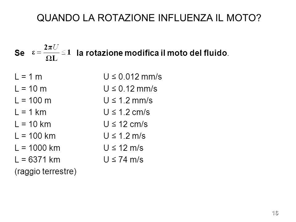 16 QUANDO LA ROTAZIONE INFLUENZA IL MOTO? Se la rotazione modifica il moto del fluido. L = 1 m U 0.012 mm/s L = 10 m U 0.12 mm/s L = 100 m U 1.2 mm/s