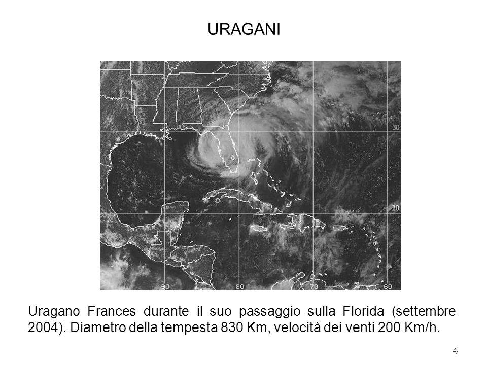 4 URAGANI Uragano Frances durante il suo passaggio sulla Florida (settembre 2004). Diametro della tempesta 830 Km, velocità dei venti 200 Km/h.