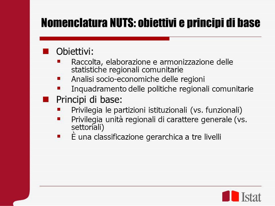 Nomenclatura NUTS: obiettivi e principi di base Obiettivi: Raccolta, elaborazione e armonizzazione delle statistiche regionali comunitarie Analisi socio-economiche delle regioni Inquadramento delle politiche regionali comunitarie Principi di base: Privilegia le partizioni istituzionali (vs.