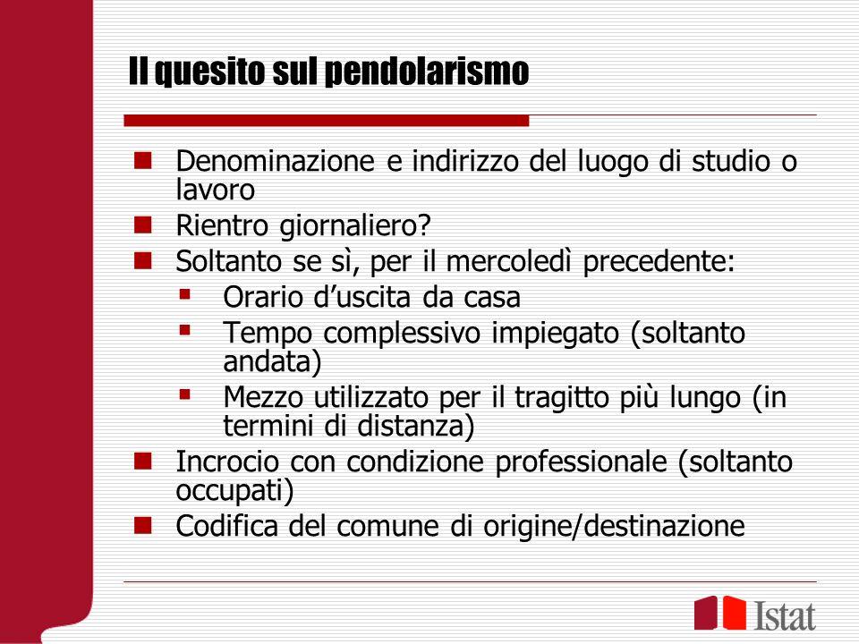 Il quesito sul pendolarismo Denominazione e indirizzo del luogo di studio o lavoro Rientro giornaliero.
