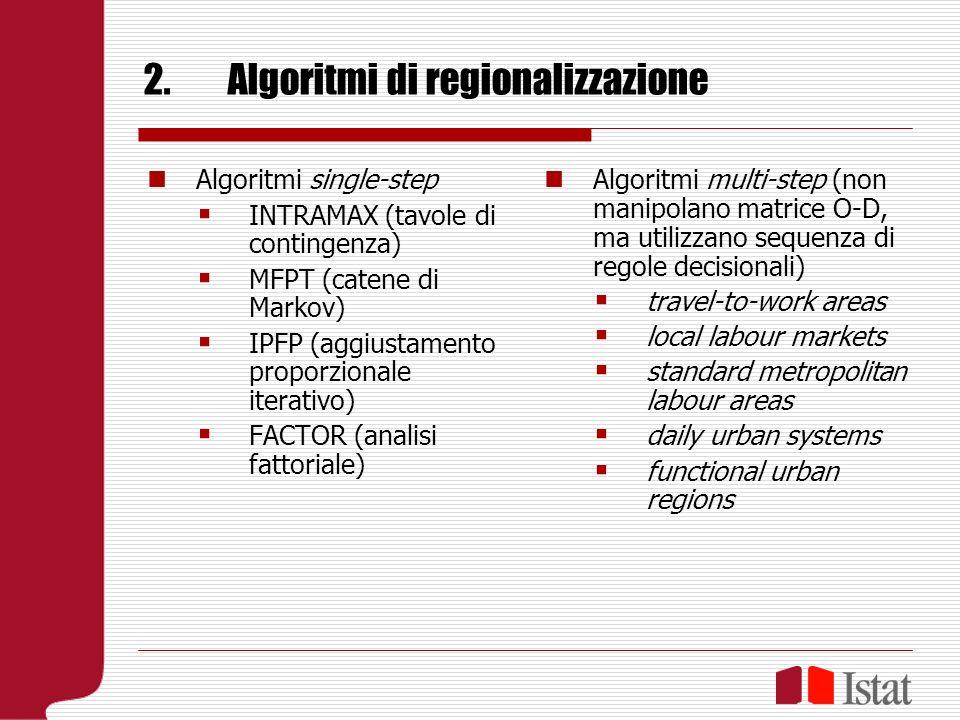2.Algoritmi di regionalizzazione Algoritmi single-step INTRAMAX (tavole di contingenza) MFPT (catene di Markov) IPFP (aggiustamento proporzionale iterativo) FACTOR (analisi fattoriale) Algoritmi multi-step (non manipolano matrice O-D, ma utilizzano sequenza di regole decisionali) travel-to-work areas local labour markets standard metropolitan labour areas daily urban systems functional urban regions