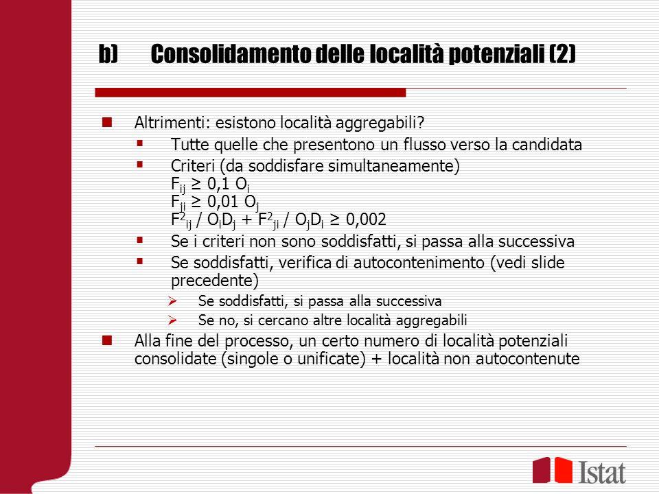 b)Consolidamento delle località potenziali (2) Altrimenti: esistono località aggregabili.
