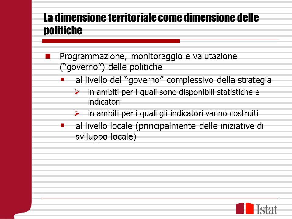 La dimensione territoriale come dimensione delle politiche Programmazione, monitoraggio e valutazione (governo) delle politiche al livello del governo complessivo della strategia in ambiti per i quali sono disponibili statistiche e indicatori in ambiti per i quali gli indicatori vanno costruiti al livello locale (principalmente delle iniziative di sviluppo locale)
