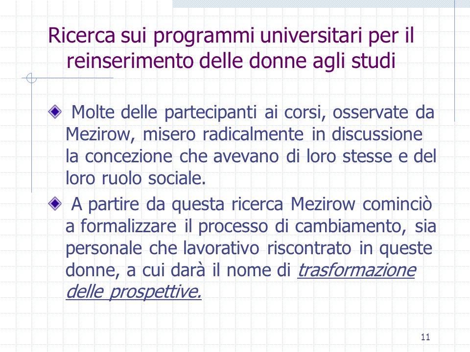 11 Ricerca sui programmi universitari per il reinserimento delle donne agli studi Molte delle partecipanti ai corsi, osservate da Mezirow, misero radi