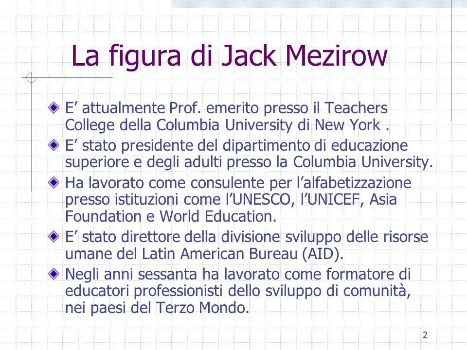 2 La figura di Jack Mezirow E attualmente Prof. emerito presso il Teachers College della Columbia University di New York. E stato presidente del dipar