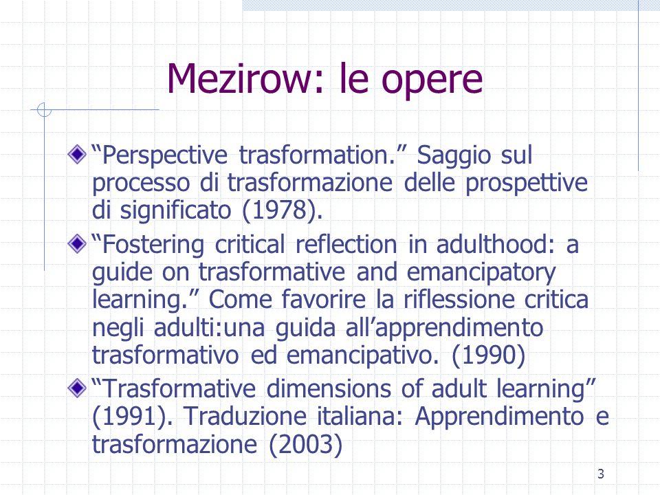 3 Mezirow: le opere Perspective trasformation. Saggio sul processo di trasformazione delle prospettive di significato (1978). Fostering critical refle