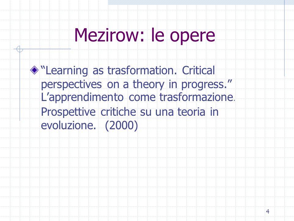 4 Mezirow: le opere Learning as trasformation. Critical perspectives on a theory in progress. Lapprendimento come trasformazione. Prospettive critiche