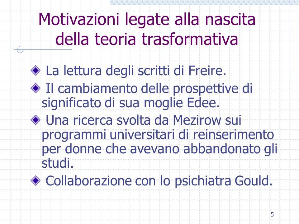 5 Motivazioni legate alla nascita della teoria trasformativa La lettura degli scritti di Freire. Il cambiamento delle prospettive di significato di su