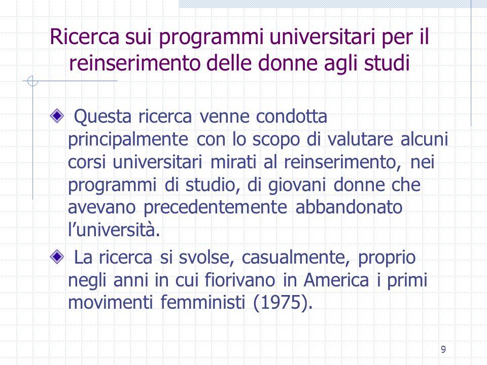9 Ricerca sui programmi universitari per il reinserimento delle donne agli studi Questa ricerca venne condotta principalmente con lo scopo di valutare