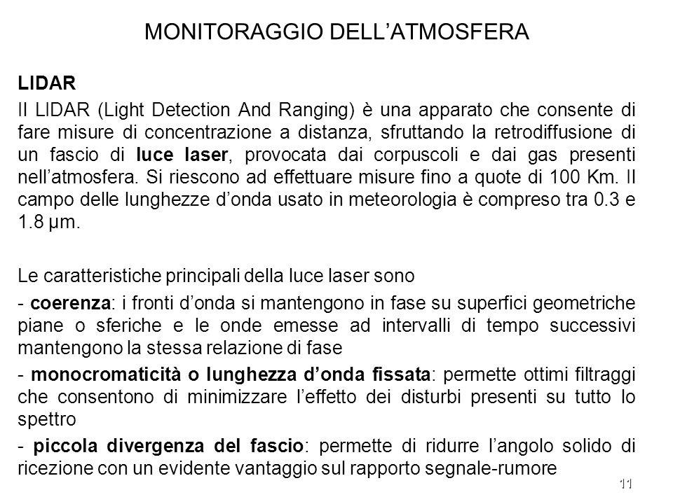 11 MONITORAGGIO DELLATMOSFERA LIDAR Il LIDAR (Light Detection And Ranging) è una apparato che consente di fare misure di concentrazione a distanza, sf