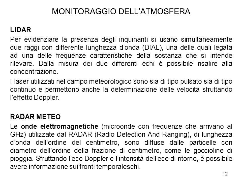 12 MONITORAGGIO DELLATMOSFERA LIDAR Per evidenziare la presenza degli inquinanti si usano simultaneamente due raggi con differente lunghezza donda (DI