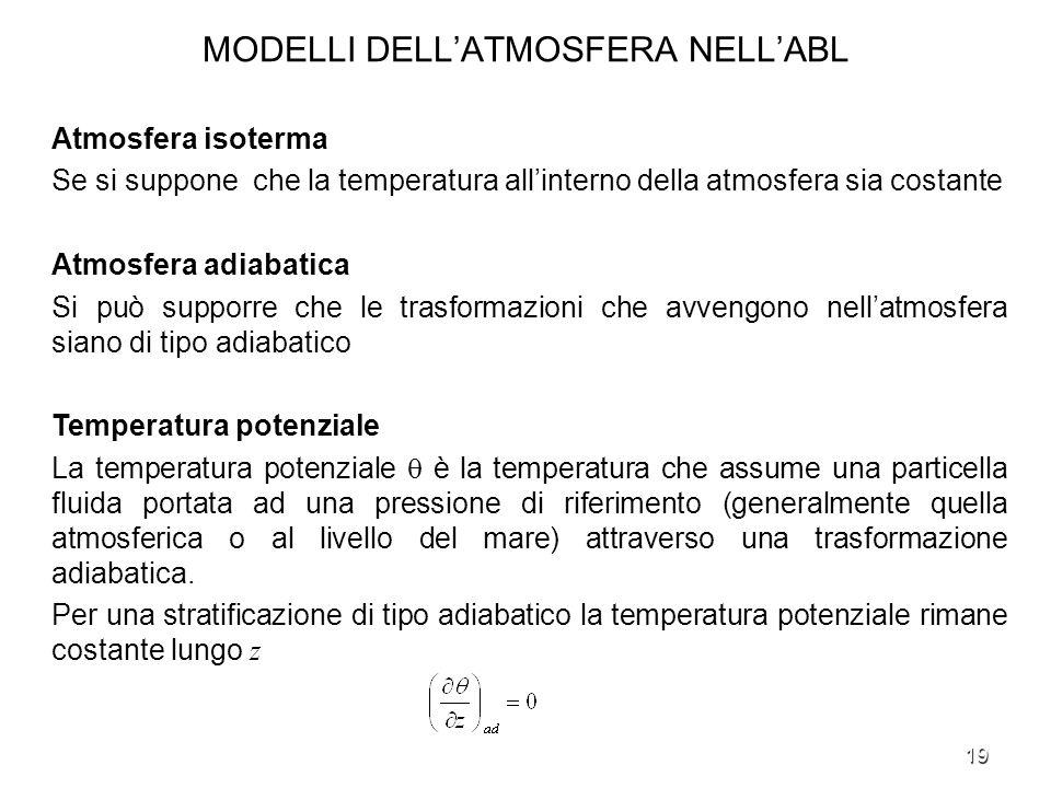 19 MODELLI DELLATMOSFERA NELLABL Atmosfera isoterma Se si suppone che la temperatura allinterno della atmosfera sia costante Atmosfera adiabatica Si p