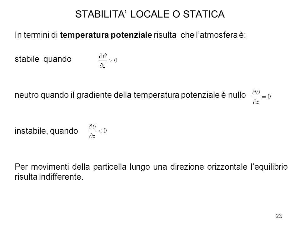23 STABILITA LOCALE O STATICA In termini di temperatura potenziale risulta che latmosfera è: stabile quando neutro quando il gradiente della temperatu