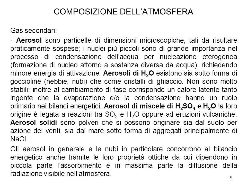 6 COMPOSIZIONE DELLATMOSFERA Gas secondari: - Aerosol sono particelle di dimensioni microscopiche, tali da risultare praticamente sospese; i nuclei pi