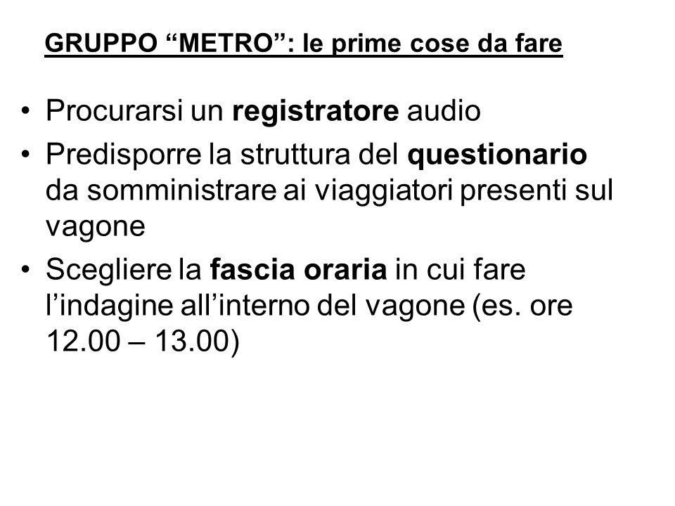 GRUPPO METRO: le prime cose da fare Procurarsi un registratore audio Predisporre la struttura del questionario da somministrare ai viaggiatori present