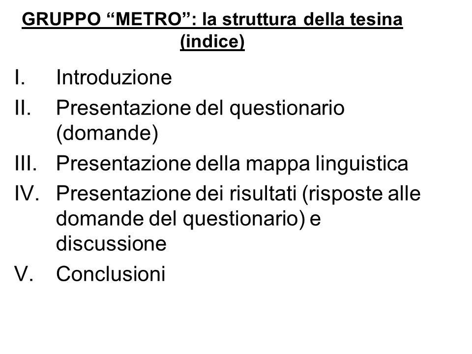GRUPPO METRO: la struttura della tesina (indice) I.Introduzione II.Presentazione del questionario (domande) III.Presentazione della mappa linguistica