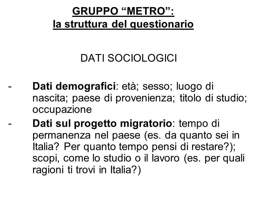 GRUPPO METRO: la struttura del questionario DATI SOCIOLOGICI -Dati demografici: età; sesso; luogo di nascita; paese di provenienza; titolo di studio;