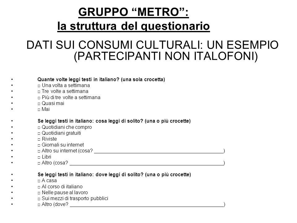 GRUPPO METRO: la struttura del questionario DATI SUI CONSUMI CULTURALI: UN ESEMPIO (PARTECIPANTI NON ITALOFONI) Quante volte leggi testi in italiano?