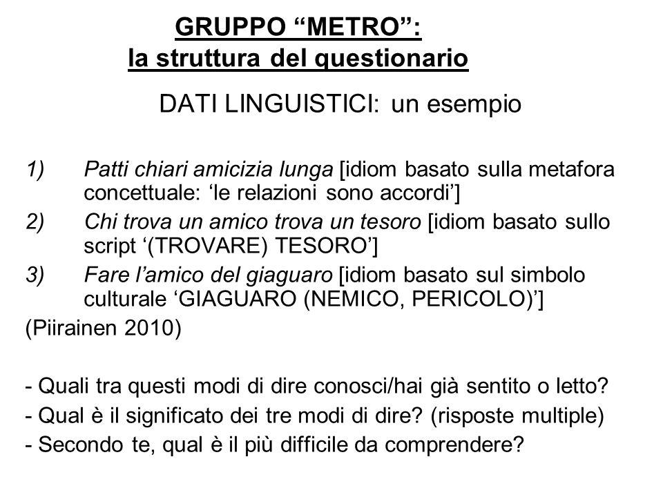 GRUPPO METRO: la struttura del questionario DATI LINGUISTICI: un esempio 1)Patti chiari amicizia lunga [idiom basato sulla metafora concettuale: le re