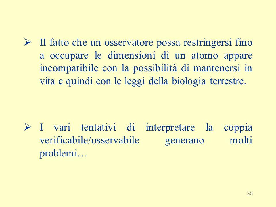 19 (C) Per ogni enunciato x, x è dotato di senso se e solo se designa proprietà o entità che sono osservabili direttamente da un osservatore umano sen