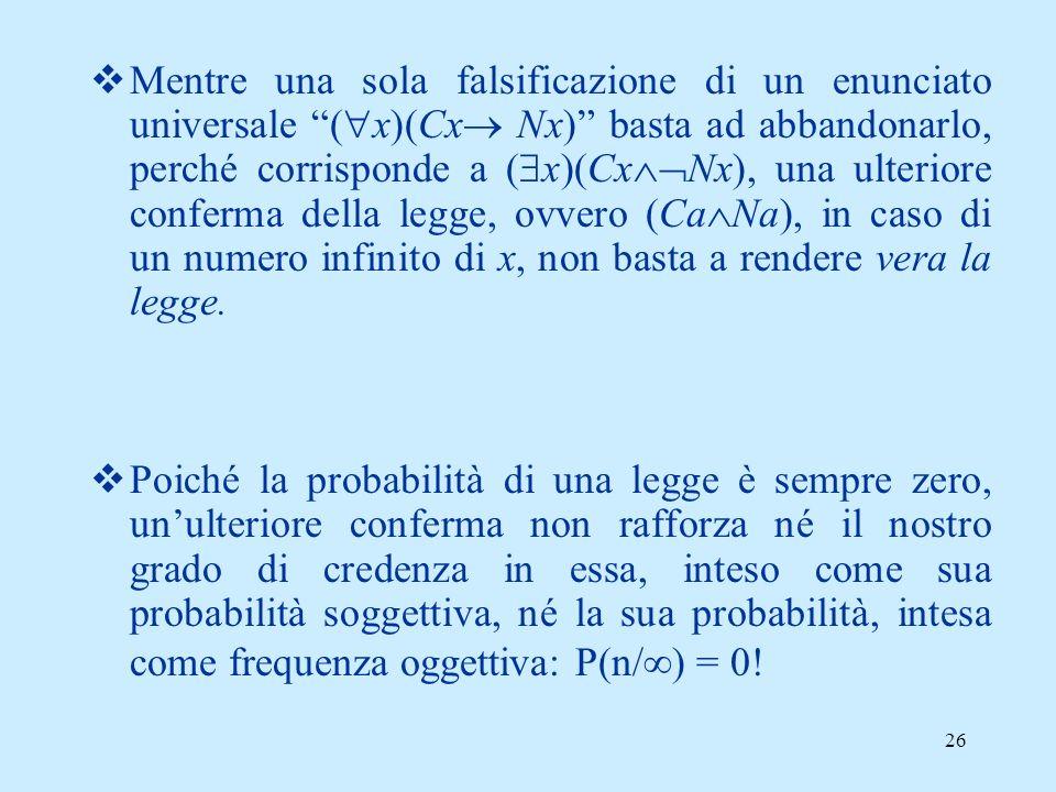 25 I due problemi fondamentali di Popper Il problema dellinduzione (o problema di Hume): risolto negandola Il problema della demarcazione tra scienza