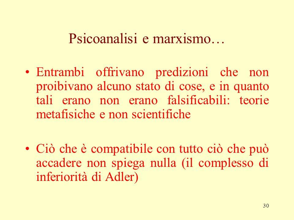 29 Il dogmatismo… Il dogmatismo consiste nel cercare solo conferme e mai smentite ai propri pregiudizi e alle proprie credenze Per Popper è psicologic