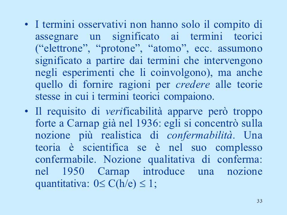 32 La liberalizzazione del criterio di significanza (1934-1958) Due conseguenze di tale processo: (1)Riconoscimento di un ruolo deigli insostituibile