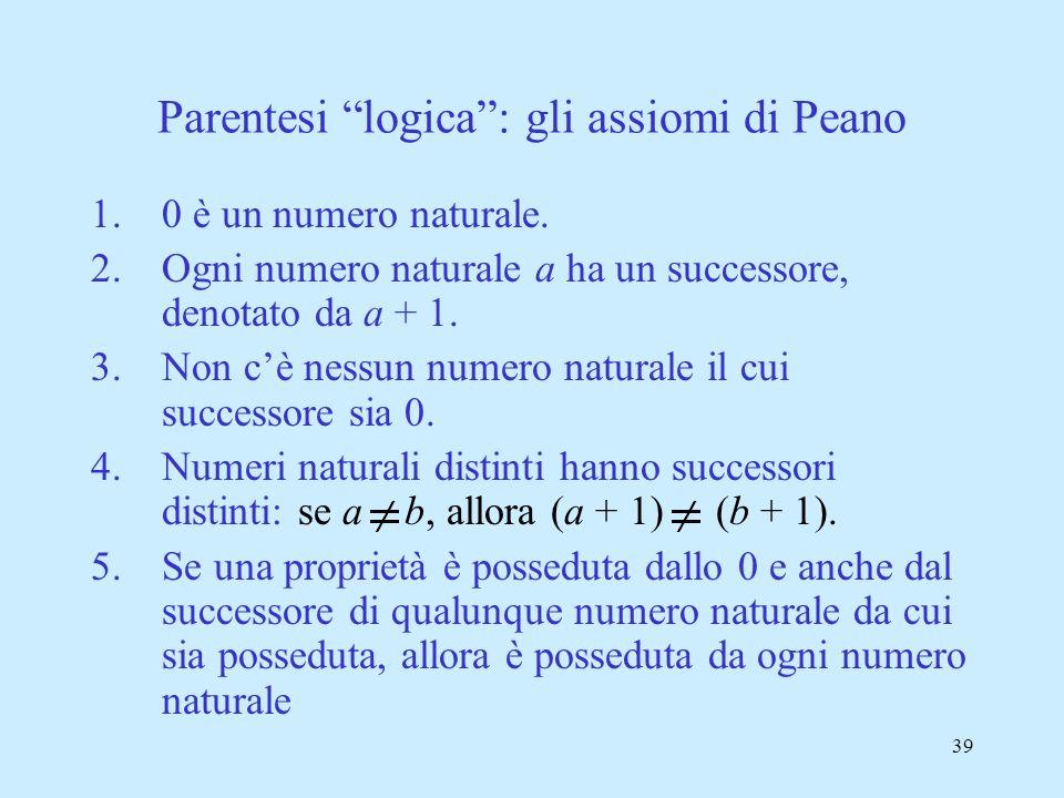38 » Somma aritmetica a * b 3 + 4 A U B P v Q Unione insiemistica Disgiunzione proposizionale