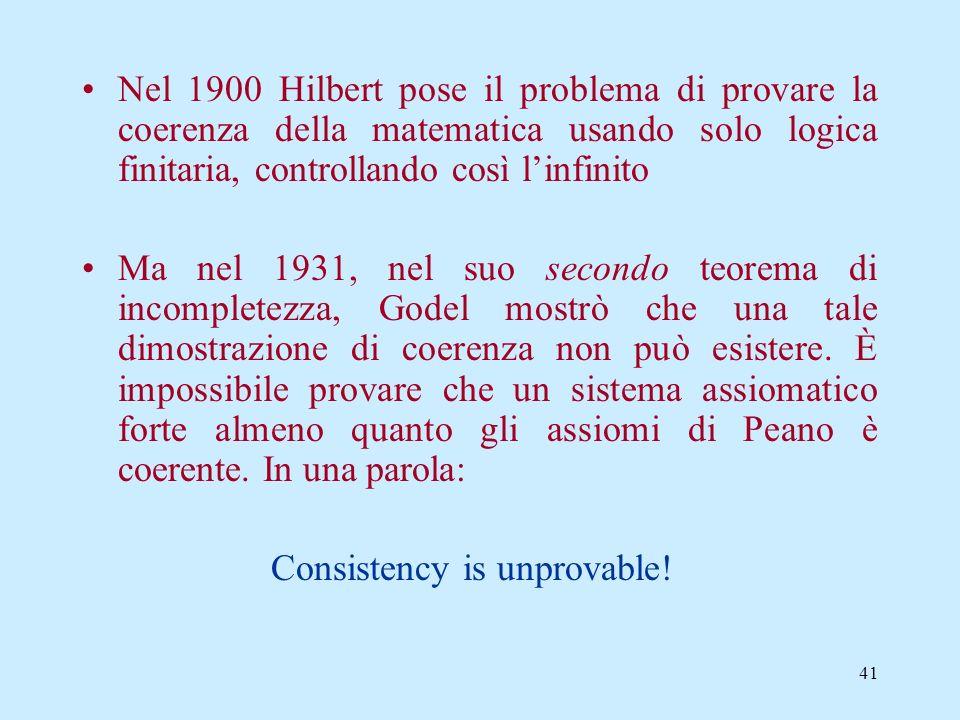 40 Nel 1888, Dedekind provò che ogni modello degli assiomi di Peano del secondo ordine è isomorfo ai numeri naturali Russell riteneva che questi assio