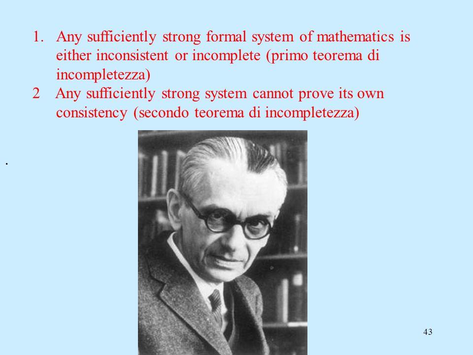 42 Primo teorema di incompletezza di Goedel: In qualunque sistema assiomatico coerente che sia sufficientemente forte da permetterci di fare aritmetic