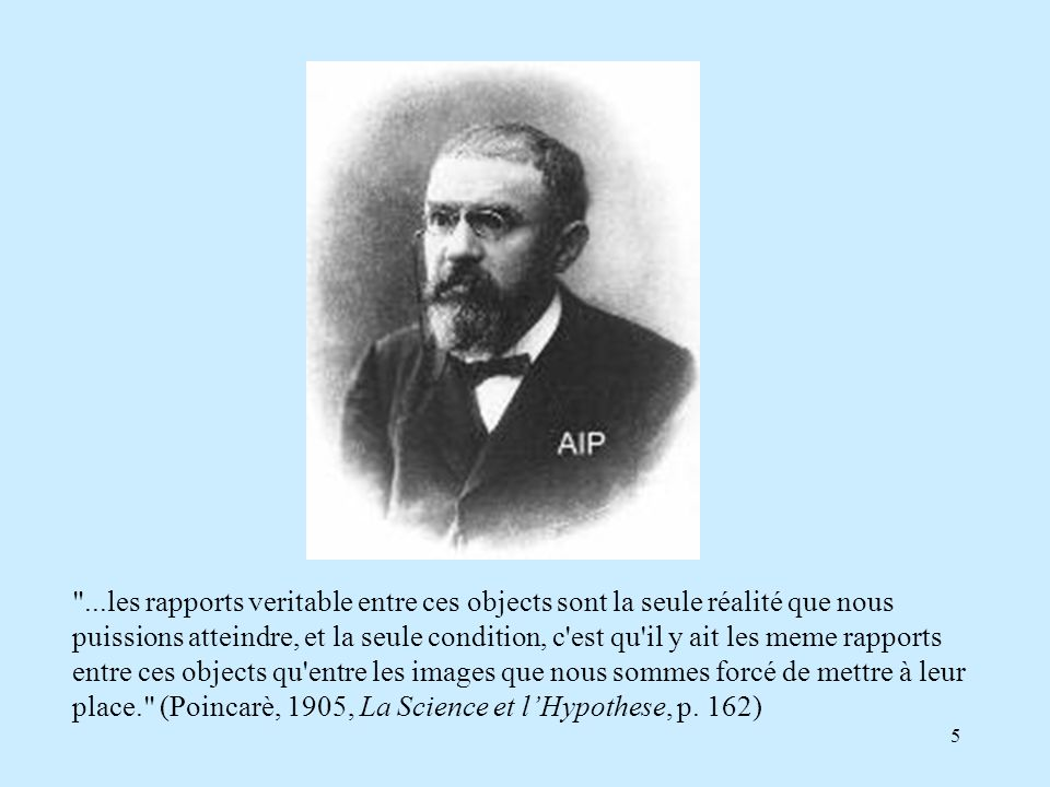 5 ...les rapports veritable entre ces objects sont la seule réalité que nous puissions atteindre, et la seule condition, c est qu il y ait les meme rapports entre ces objects qu entre les images que nous sommes forcé de mettre à leur place. (Poincarè, 1905, La Science et lHypothese, p.