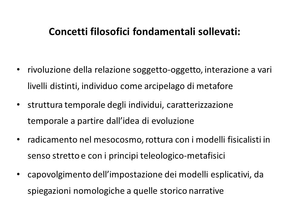 Concetti filosofici fondamentali sollevati: rivoluzione della relazione soggetto-oggetto, interazione a vari livelli distinti, individuo come arcipela