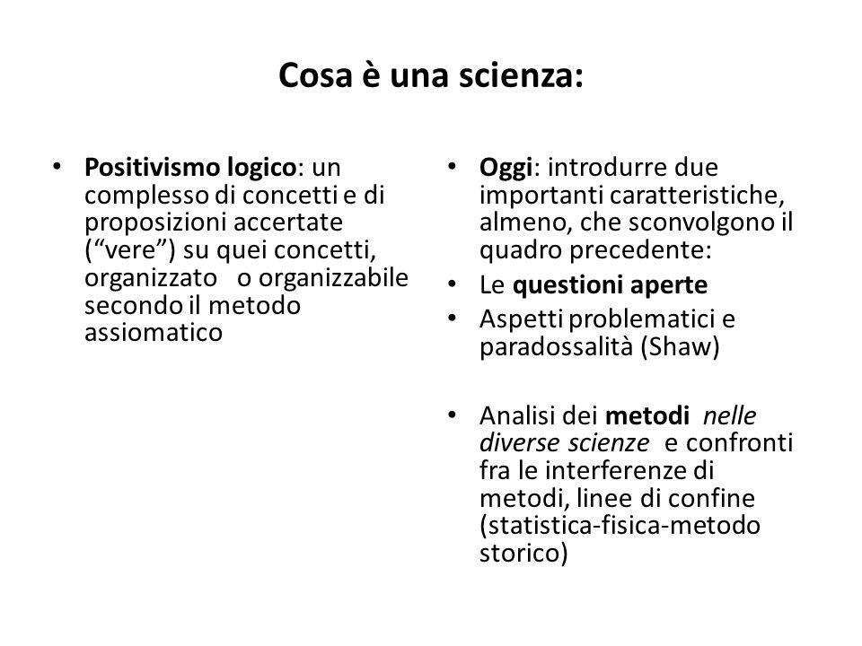 Cosa è una scienza: Positivismo logico: un complesso di concetti e di proposizioni accertate (vere) su quei concetti, organizzato o organizzabile seco