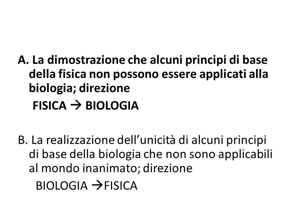 A. La dimostrazione che alcuni principi di base della fisica non possono essere applicati alla biologia; direzione FISICA BIOLOGIA B. La realizzazione
