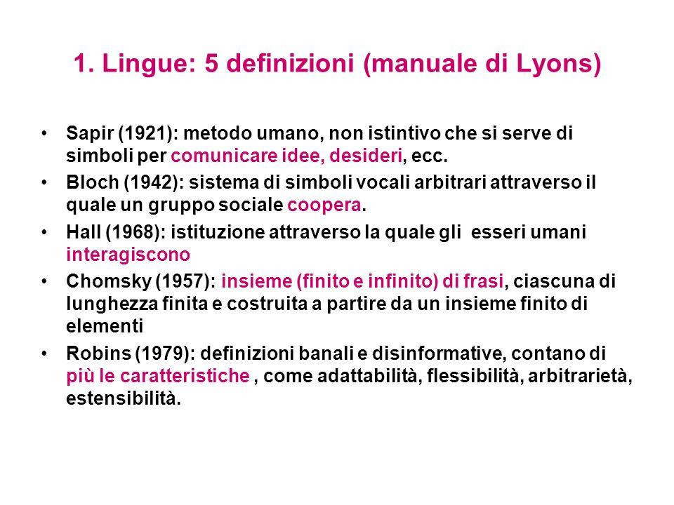1. Lingue: 5 definizioni (manuale di Lyons) Sapir (1921): metodo umano, non istintivo che si serve di simboli per comunicare idee, desideri, ecc. Bloc