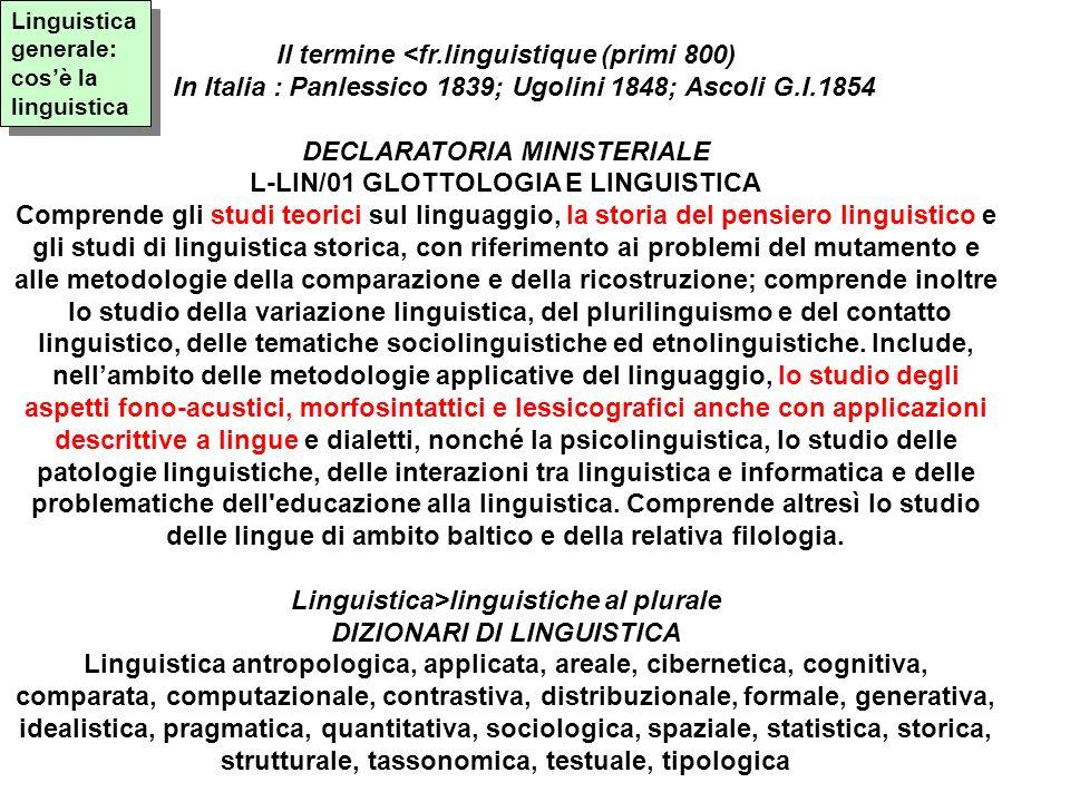 Il termine <fr.linguistique (primi 800) In Italia : Panlessico 1839; Ugolini 1848; Ascoli G.I.1854 DECLARATORIA MINISTERIALE L-LIN/01 GLOTTOLOGIA E LI