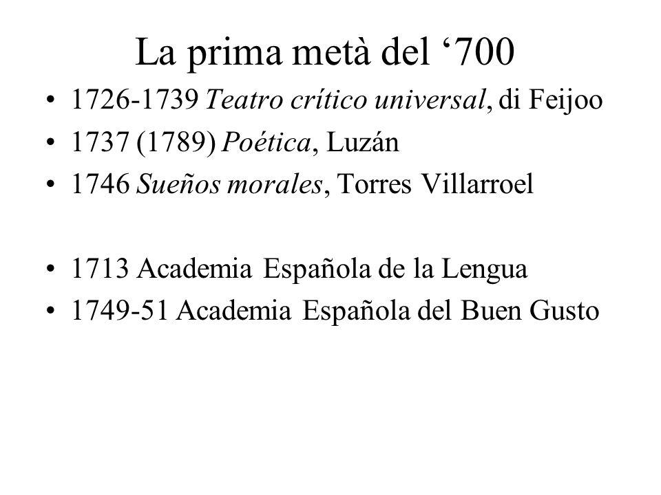 La prima metà del 700 1726-1739 Teatro crítico universal, di Feijoo 1737 (1789) Poética, Luzán 1746 Sueños morales, Torres Villarroel 1713 Academia Es