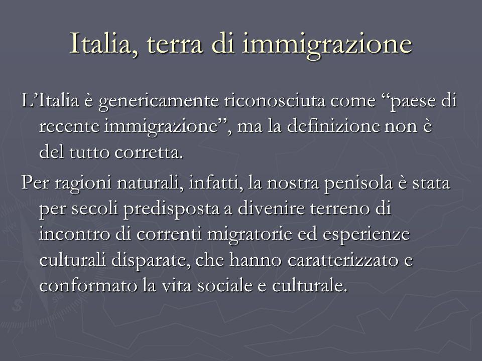 Caratteristiche della prima immigrazione in Italia Molteplicità delle componenti etnico-culturali; Molteplicità delle componenti etnico-culturali; Forte concentrazione territoriale – rapporto stretto fra area geografica di immigrazione e paese di provenienza; Forte concentrazione territoriale – rapporto stretto fra area geografica di immigrazione e paese di provenienza; Direzione verso regioni a diverso grado di sviluppo, anche con alti tassi di disoccupazione, e di urbanizzazione; Direzione verso regioni a diverso grado di sviluppo, anche con alti tassi di disoccupazione, e di urbanizzazione; Mobilità degli immigrati allinterno del paese, anche di intere comunità; Mobilità degli immigrati allinterno del paese, anche di intere comunità; Elevata scolarizzazione.