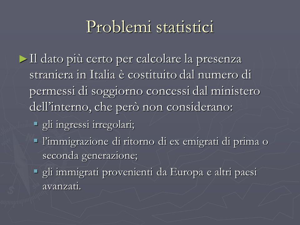 Problemi statistici Il dato più certo per calcolare la presenza straniera in Italia è costituito dal numero di permessi di soggiorno concessi dal mini
