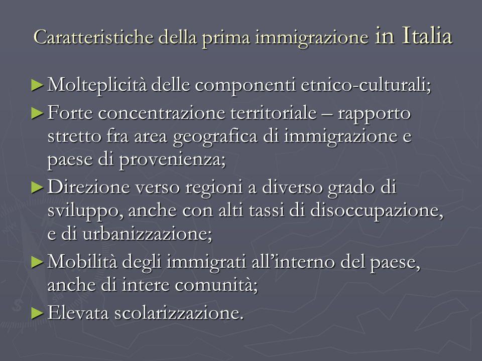 Caratteristiche della prima immigrazione in Italia Molteplicità delle componenti etnico-culturali; Molteplicità delle componenti etnico-culturali; For