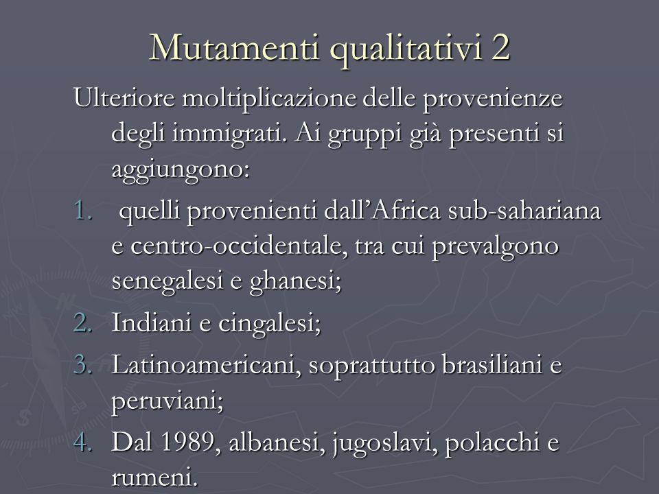 Mutamenti qualitativi 2 Ulteriore moltiplicazione delle provenienze degli immigrati. Ai gruppi già presenti si aggiungono: 1. quelli provenienti dallA