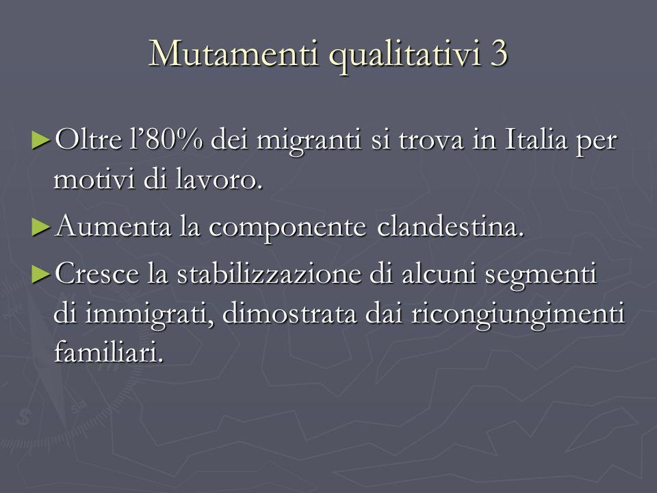 Mutamenti qualitativi 3 Oltre l80% dei migranti si trova in Italia per motivi di lavoro. Oltre l80% dei migranti si trova in Italia per motivi di lavo