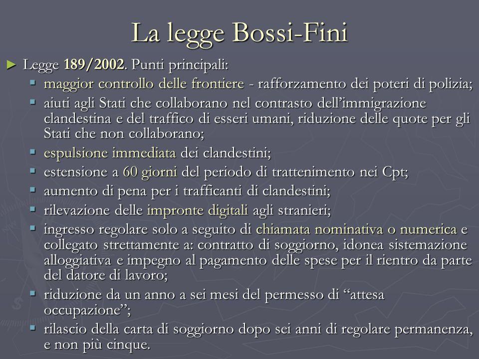 La legge Bossi-Fini Legge 189/2002. Punti principali: Legge 189/2002. Punti principali: maggior controllo delle frontiere - rafforzamento dei poteri d